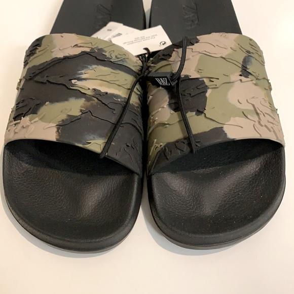 ZARA Camouflage Slides - they have been worn